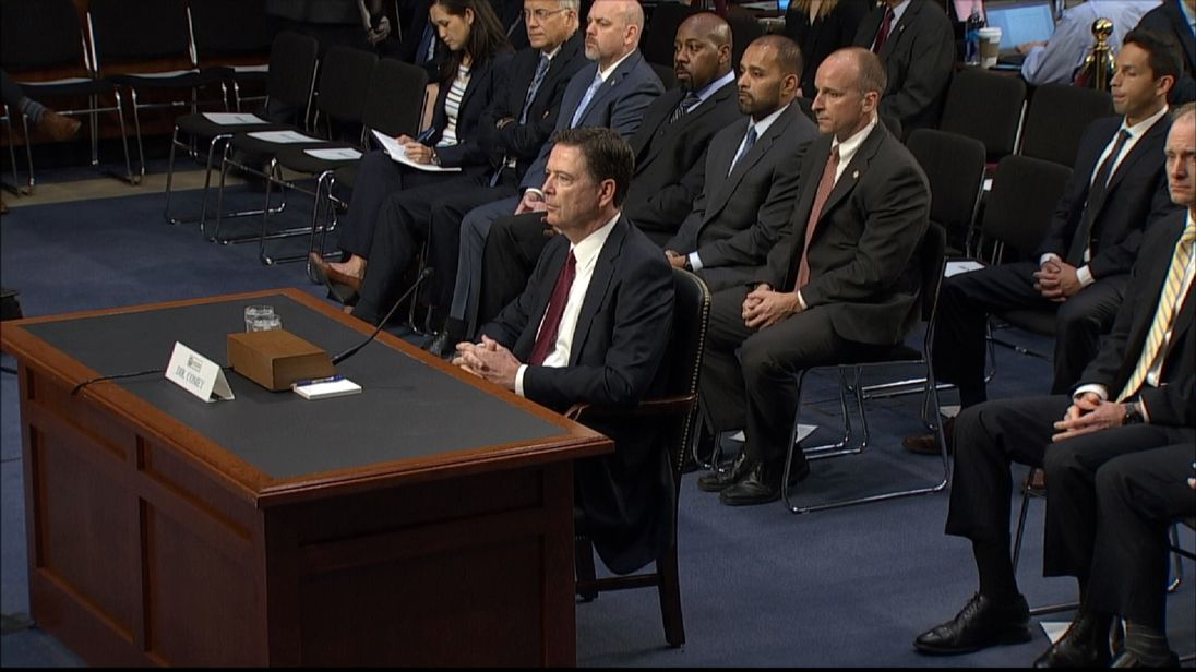 Former FBI DirectorJames Comey appears before Senate Intelligence Committee in US