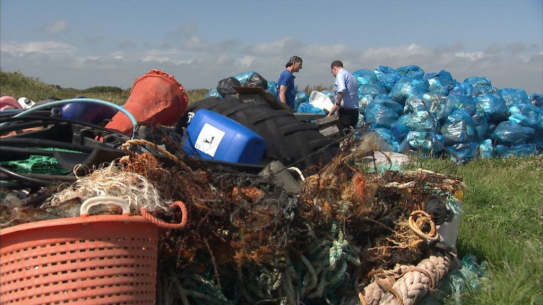 Piles of rubbish collected by environmentalist Tim Bevan