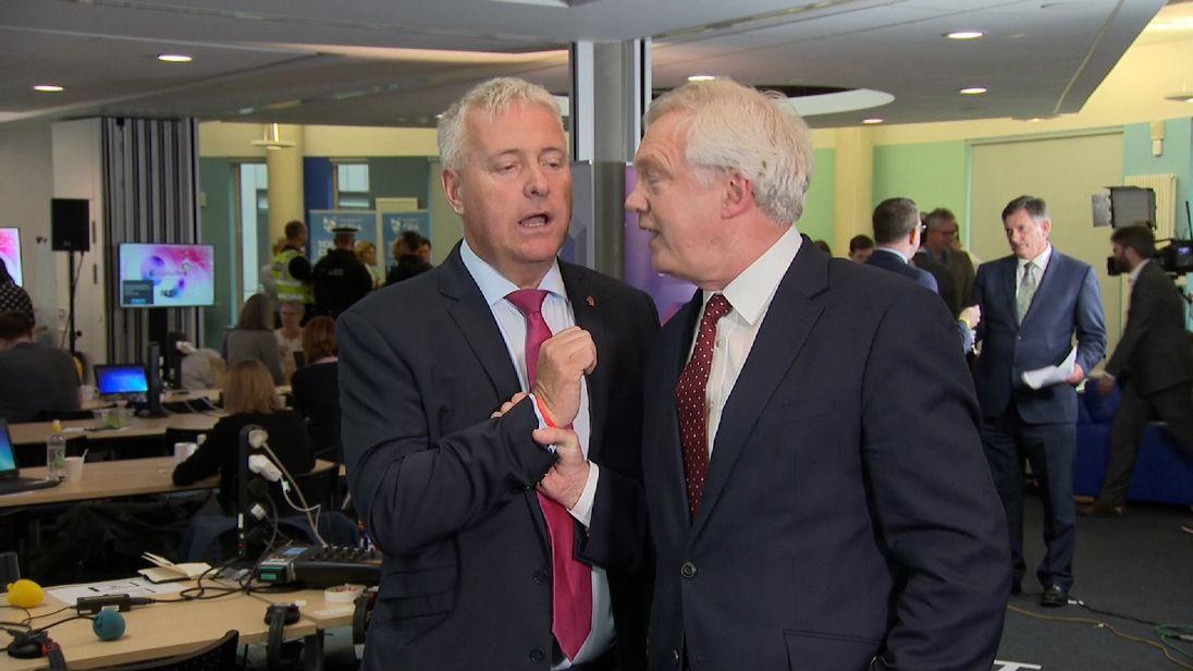 David Davis restrains Ian Lavery during a TV debate