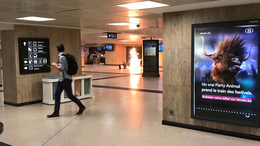 A fire broke out after the incident in Brussels Central. Pic: Remy Bonnaffe