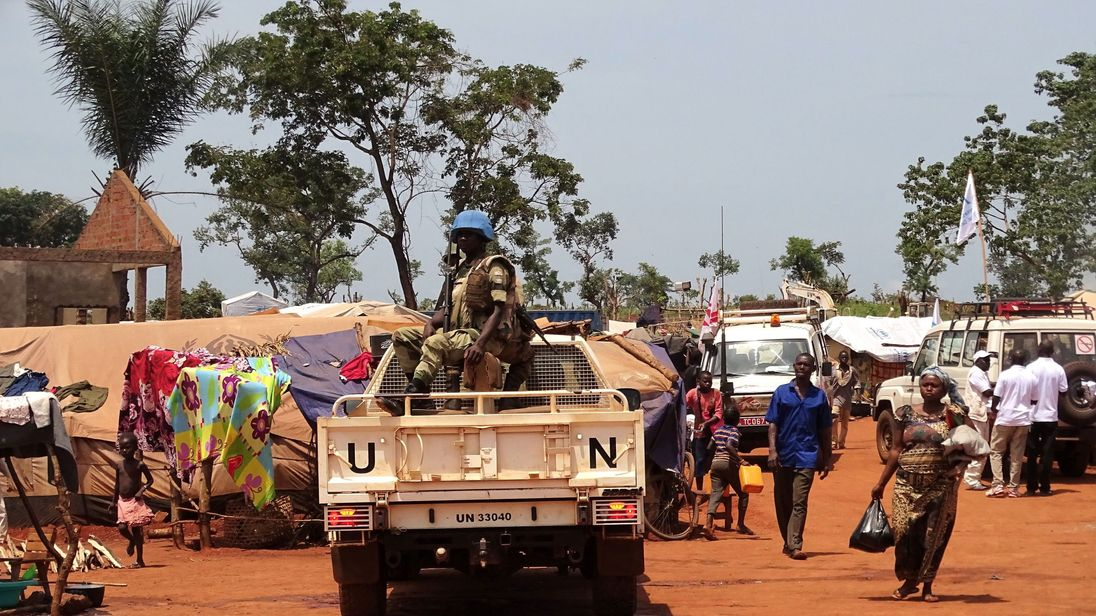 UN peacekeepers on patrol in the town of Bria earlier this month. File pic