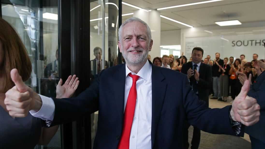 Jeremy Corbyn pictured hours after the election result became clear