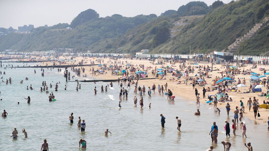 Bournemouth beach was busy amid soaring temperatures