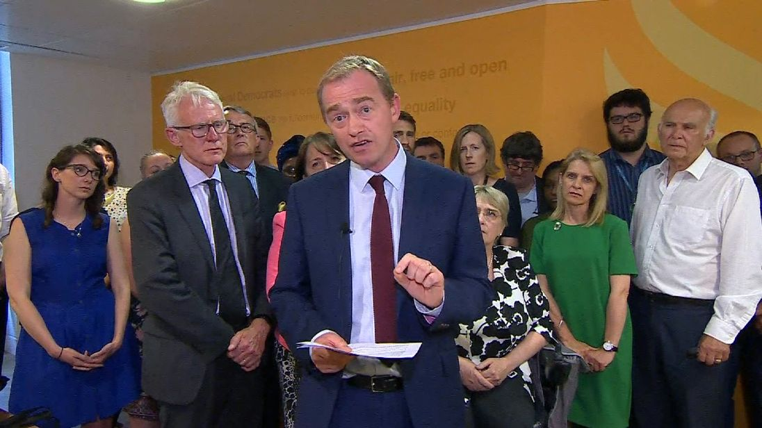 Tim Farron resigns as leader of the Liberal Democrats