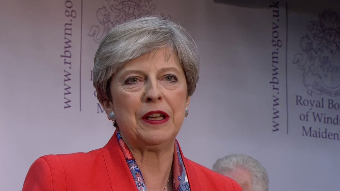 Theresa May gives a speech after winning her Maidenhead seat