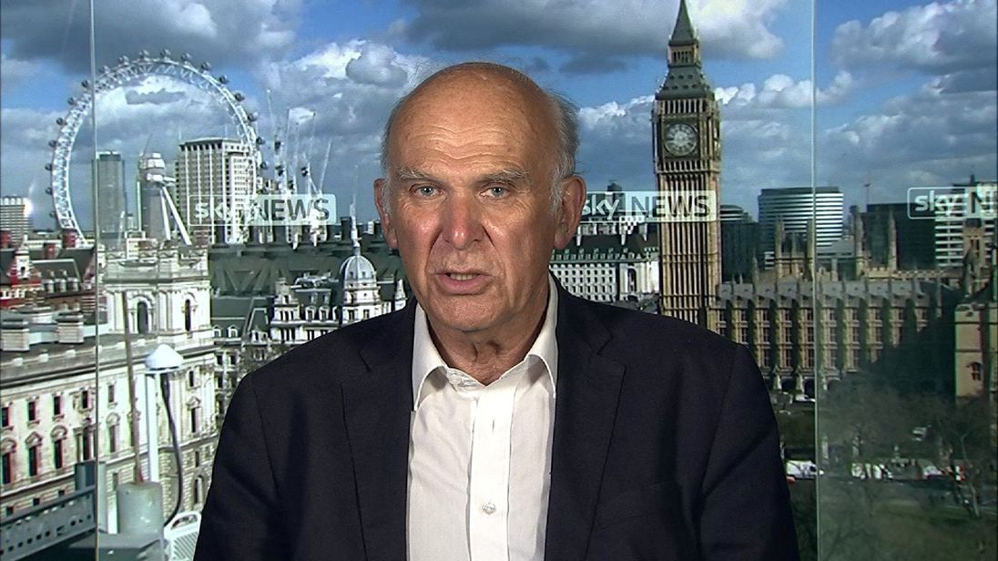 Vince Cable in the Millbank studio.