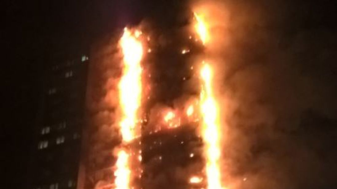 A fire at a tower block in west London. Pic: London Fire Brigade