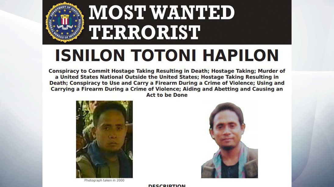 The FBI is offering millions of dollars for information which leads to Hapilon's conviction