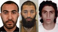 L-R: London Bridge attackers Rachid Redouane, Khuram Butt and Youssef Zaghba