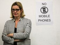 Home Secretary Amber Rudd awaits the result in her constituency
