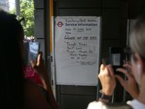 A sign at Finsbury Park Tube station in the aftermath of the attack by a 48-year-old man