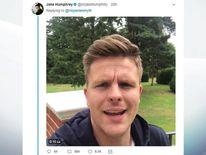 Screen grabbed image taken from Twitter of @mrjakehumphrey of a video reply by Jake Humphrey to an appeal for birthday messages for Chris Hope-Smith's son Ollie