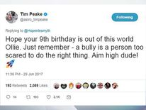 Twitter of @astro_timpeake of a reply by Tim Peake to an appeal for birthday messages for Chris Hope-Smith's son Ollie
