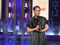 """Laurie Metcalf accepts the award for Best Performance by an Actress in a Leading Role in a Play for """"A Doll's House, Part 2"""""""