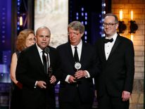 """J.T. Rogers (L) accepts Best Play for """"Oslo"""""""