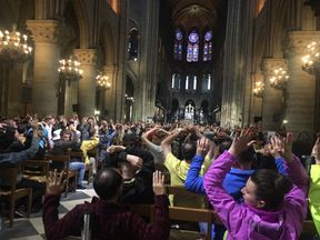 Visitors held their hands up during the police operation. Pic: Nancy Soderberg