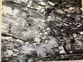 An image provided by the Iraqi military shows the destruction in Mosul's Old City