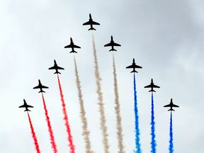 The Red Arrows' display on Armed Forces Day in Liverpool