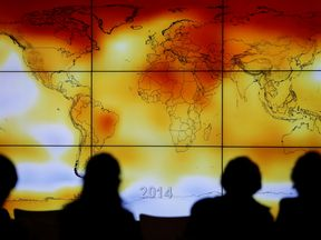 A world map with climate anomalies shown at the World Climate Change Conference 2015