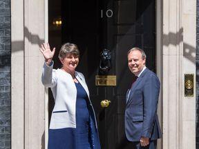 DUP leader Arlene Foster and deputy leader Nigel Dodds arrive at Downing Street