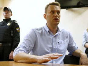 Russian opposition leader Alexei Navalny during a court hearing