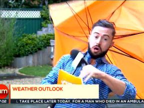 Deric Hartigan was swept away when a gust of wind caught his umbrella. Pic: 3 News Ireland