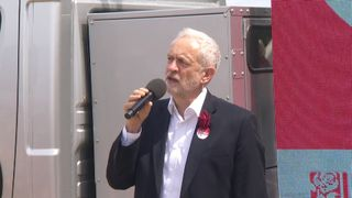 Jeremy Corbyn rallies support in Wales on the last day of the General Election campaign