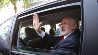 Jeremy Corbyn leaves his home in north London after he called on the Prime Minister to resign