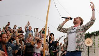 Ricky Wilson of Kaiser Chiefs performs in the 'Old Mout Cider' tent