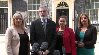 Sinn Fein outside 10 Downing Street after meeting with the Prime Minister