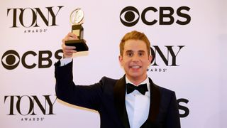 "Ben Platt poses with his award for Best Performance by an Actor in a Leading Role in a Musical for ""Dear Evan Hansen."""