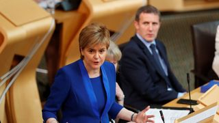 Scotland's First Minister, Nicola Sturgeon, addresses the Scottish Parliament in Edinburgh, Scotland