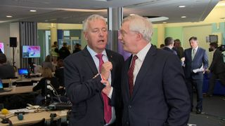 David Davis restrains Ian Lavery during a TV debate