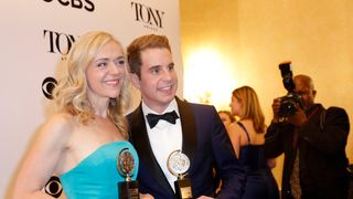 "Rachel Bay Jones and Ben Platt pose with their Best Performance in a Musical awards for ""Dear Evan Hansen."""