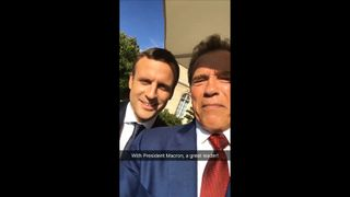 Arnold Schwarzengger has shared a video of his meeting with French President Emmanuel Macron.