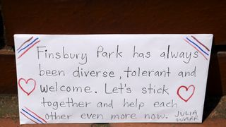 A sign left at the scene of the Finsbury Park attack