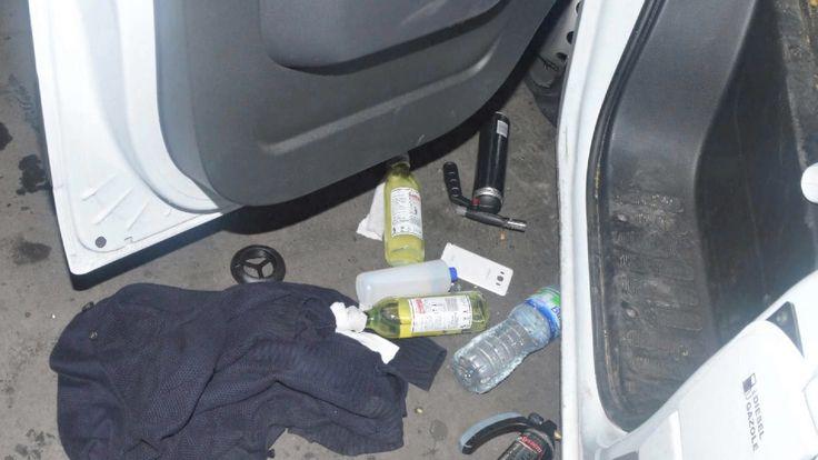 Thirteen Molotov cocktails were found in the van
