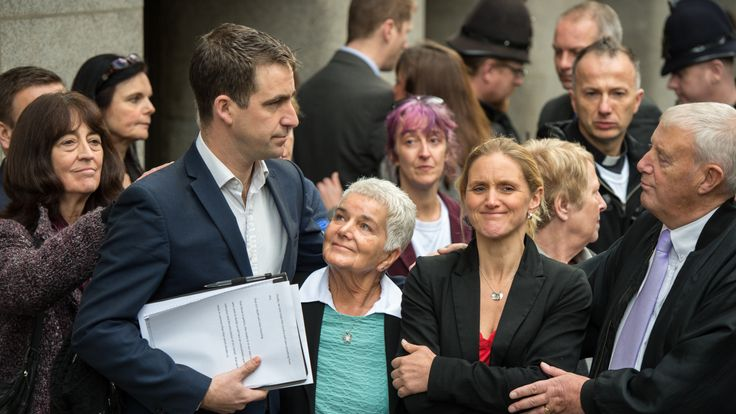 Jo Cox's husband Brendan Cox, mother Jean Leadbeater, father Gordon Leadbeater and sister Kim Leadbeater react after speaking to the media following the guilty verdict in Thomas Mair's trial for the murder of Labour MP Jo Cox at Old Bailey on November 23, 2016 in London, England