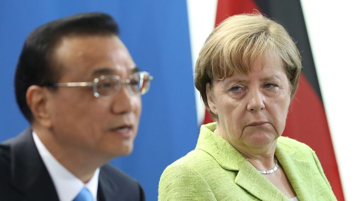 Angela Merkel and Chinese Prime Minister Li Keqiang during his Berlin visit