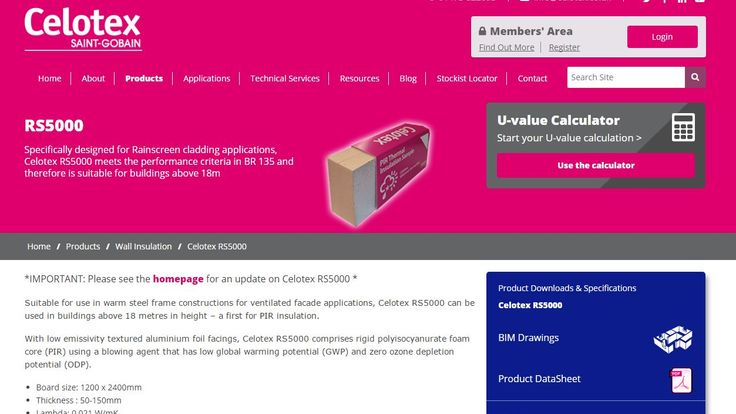 A screengrab of the Celotex website advertising the properties of the insulating material RS5000