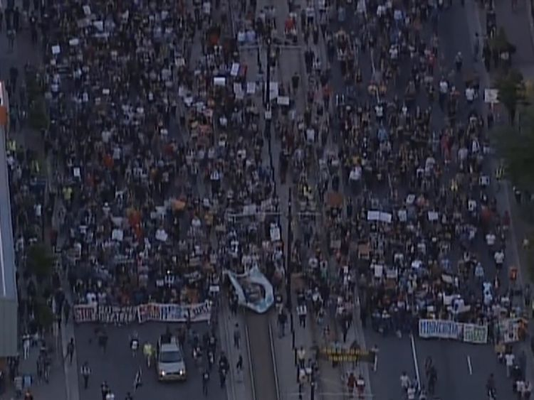 Protesters marched down highways bringing traffic to a standstill