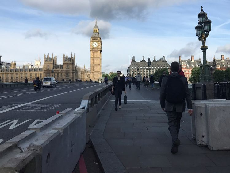 The sturdy concrete structures stand at both ends of Westminster Bridge