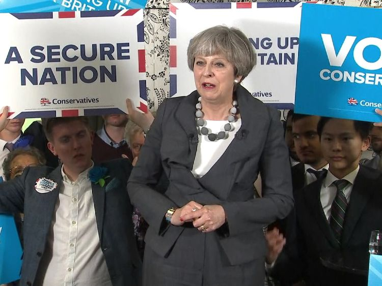 Theresa May back on the election campaign trail