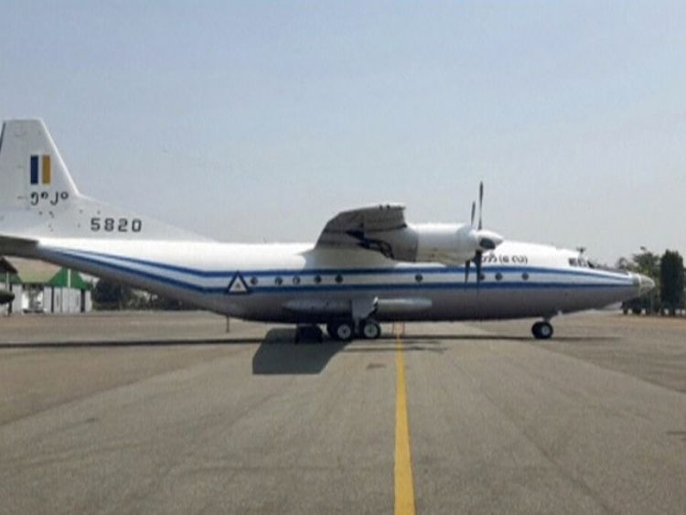 A still image taken from video released on June 7, 2017 shows the photograph of a Y-8-200 F military aircraft. FACEBOOK: CINCDS MYANMAR/Handout/via Reuters TV