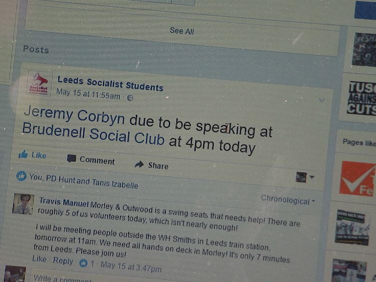 The parties have been using social media to whip up support for Mr Corbyn
