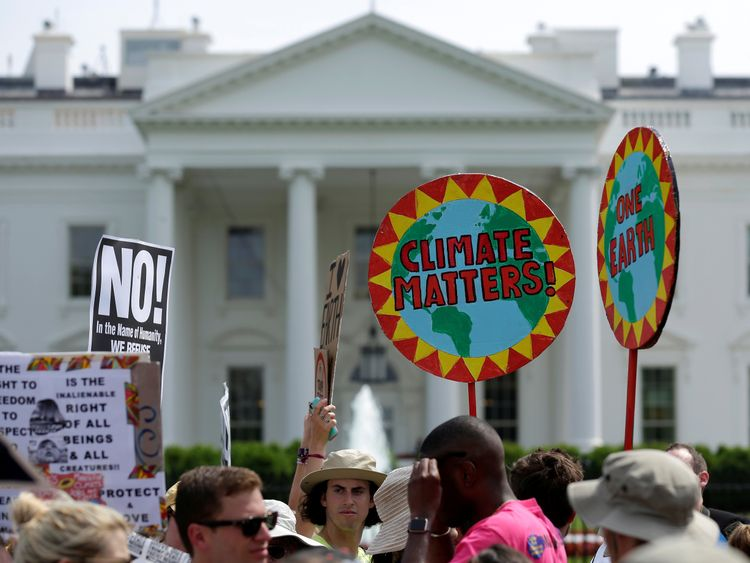 The People's Climate March protest at the White House in April 2017