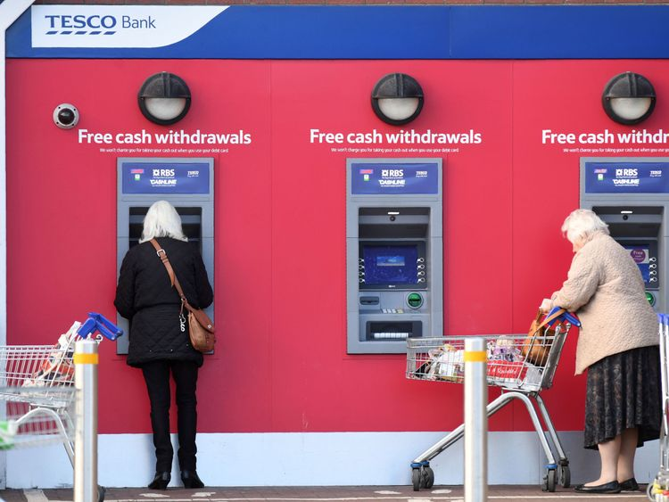 Nearly half of all cash points are in supermarkets, shops or shopping centres