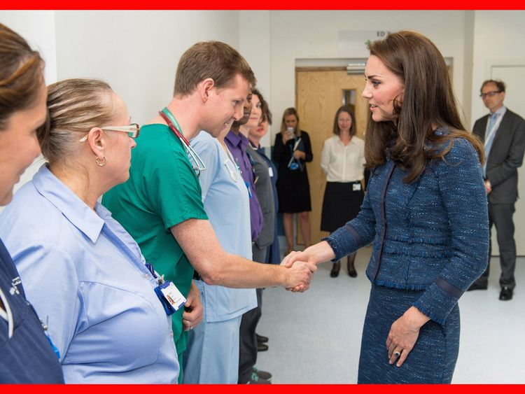 Kate meets Dr Mark Haden during her visit to King's College Hospital