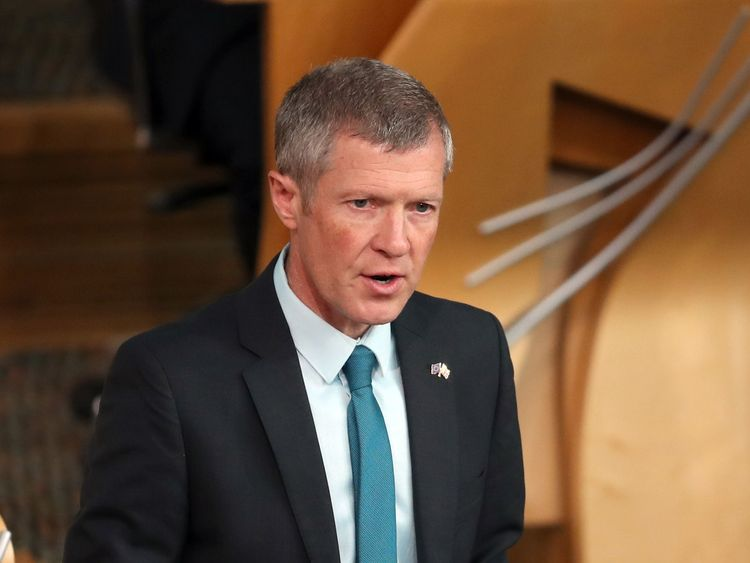 Scottish Liberal Democrat party leader Willie Rennie during First Minister's Questions at the Scottish Parliament in Edinburgh