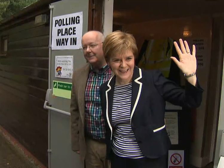 SNP leader Nicola Sturgeon preparing to vote in the General Election